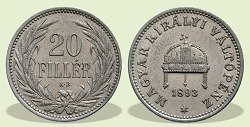 1893-as 20 fillér - (1893 20 fillér)